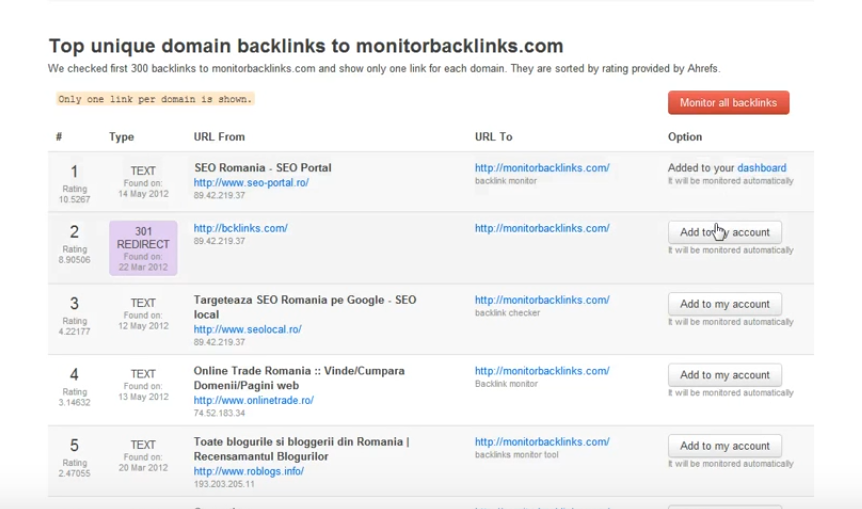Monitor Backlinks Sample